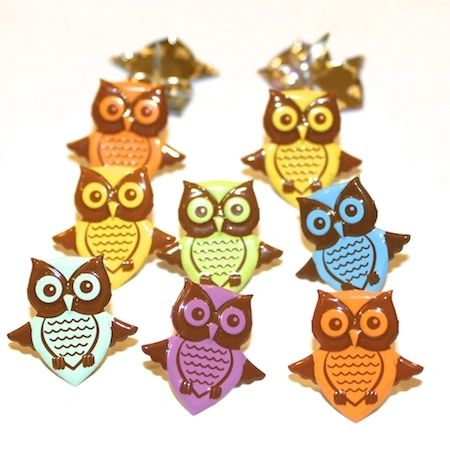 Owl Brads (pastel) by Eyelet Outlet