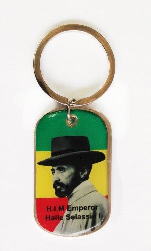 ETHIOPIA KING HAT PICTURE' METAL KEYCHAIN .. NEW AND IN A PACKAGE