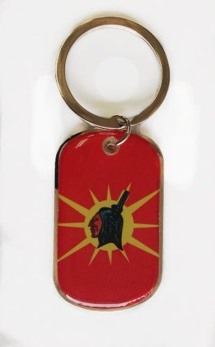 OKA FLAG METAL KEYCHAIN .. NEW AND IN A PACKAGE