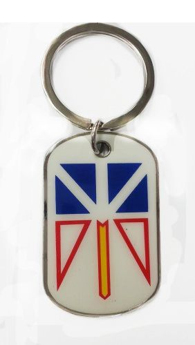NEWFOUNDLAND & LABRADOR - CANADA PROVINCIAL FLAG METAL KEYCHAIN .. NEW AND IN A PACKAGE