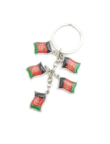 AFGHANISTAN 5 COUNTRY FLAG METAL KEYCHAIN .. NEW AND IN A PACKAGE
