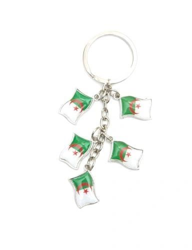 ALGERIA 5 COUNTRY FLAG METAL KEYCHAIN .. NEW AND IN A PACKAGE