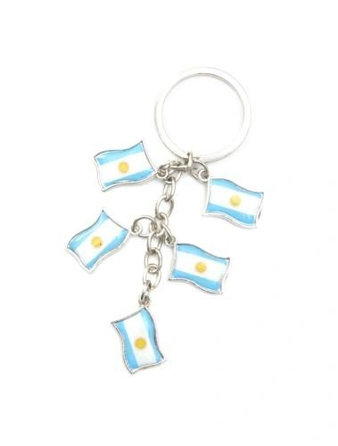 ARGENTINA 5 COUNTRY FLAG METAL KEYCHAIN .. NEW AND IN A PACKAGE