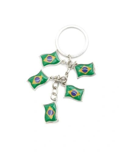 BRASIL 5 COUNTRY FLAG METAL KEYCHAIN .. NEW AND IN A PACKAGE