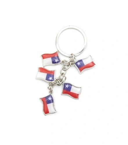 CHILE 5 COUNTRY FLAG METAL KEYCHAIN .. NEW AND IN A PACKAGE