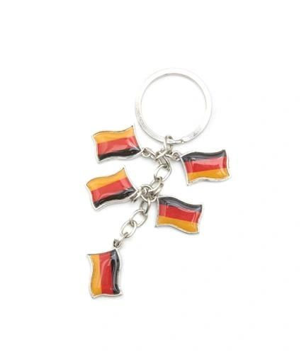 GERMANY 5 COUNTRY FLAG METAL KEYCHAIN .. NEW AND IN A PACKAGE