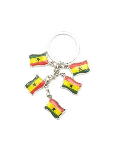 GHANA 5 COUNTRY FLAG METAL KEYCHAIN .. NEW AND IN A PACKAGE