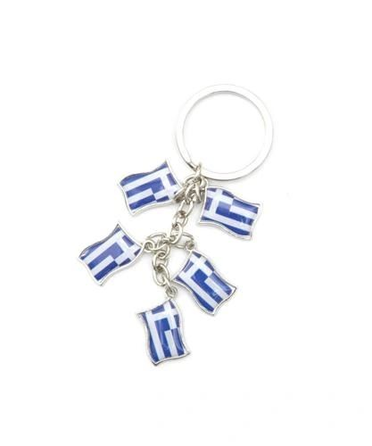 GREECE 5 COUNTRY FLAG METAL KEYCHAIN .. NEW AND IN A PACKAGE