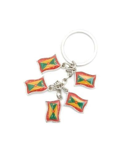 GRENADA 5 COUNTRY FLAG METAL KEYCHAIN .. NEW AND IN A PACKAGE