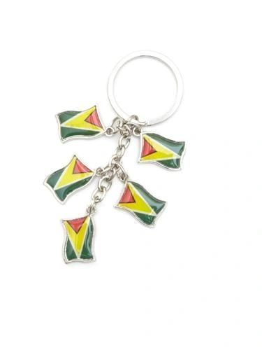 GUYANA 5 COUNTRY FLAG METAL KEYCHAIN .. NEW AND IN A PACKAGE
