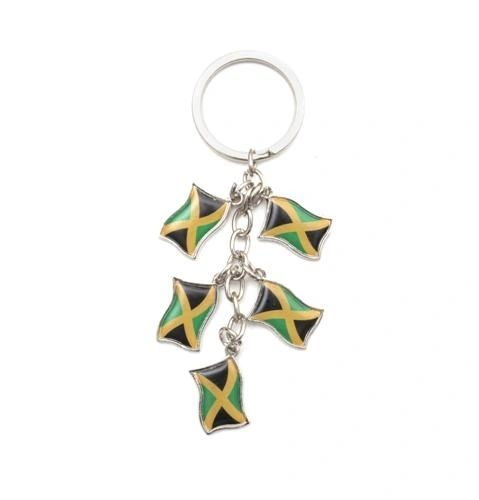 JAMAICA 5 COUNTRY FLAG METAL KEYCHAIN .. NEW AND IN A PACKAGE