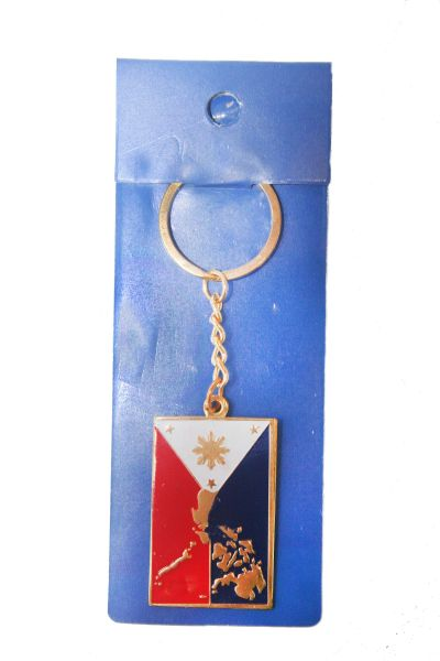 PHILIPPINES SQUARE SHAPE COUNTRY FLAG METAL KEYCHAIN .. NEW AND IN A PACKAGE