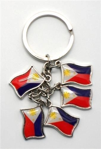 PHILIPPINES 5 COUNTRY FLAG METAL KEYCHAIN .. NEW AND IN A PACKAGE