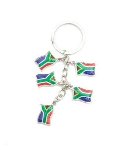 SOUTH AFRICA 5 COUNTRY FLAG METAL KEYCHAIN .. NEW AND IN A PACKAGE