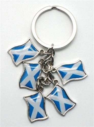SCOTLAND - ST. ANDREW 5 COUNTRY FLAG METAL KEYCHAIN .. NEW AND IN A PACKAGE