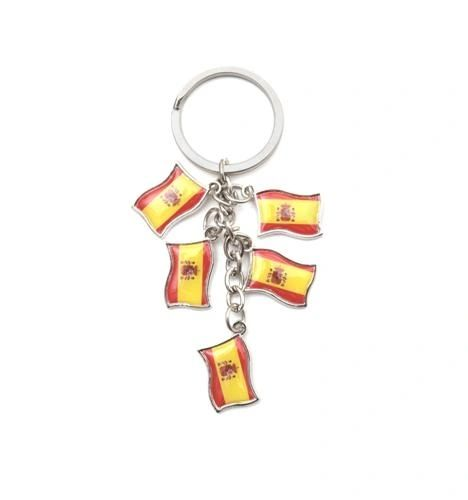 SPAIN 5 COUNTRY FLAG METAL KEYCHAIN .. NEW AND IN A PACKAGE