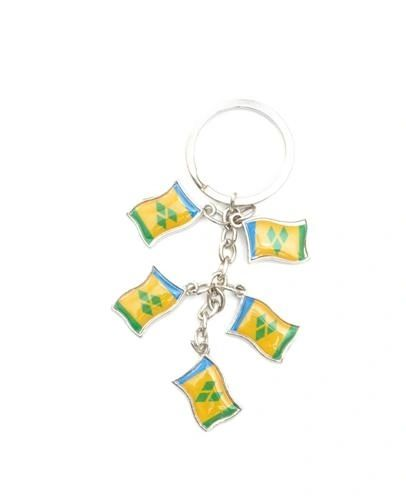 ST. VINCENT AND THE GRENADINES 5 COUNTRY FLAG METAL KEYCHAIN .. NEW AND IN A PACKAGE