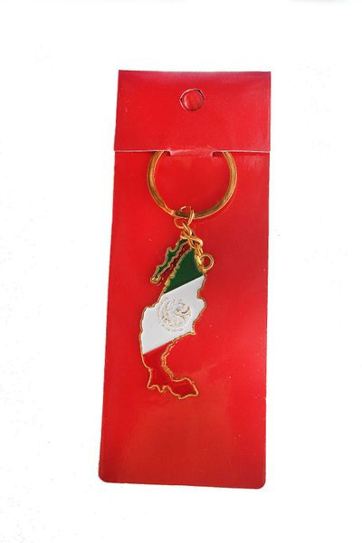 MEXICO COUNTRY SHAPE FLAG METAL KEYCHAIN .. NEW AND IN A PACKAGE