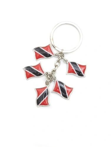 TRINIDAD & TOBAGO 5 COUNTRY FLAG METAL KEYCHAIN .. NEW AND IN A PACKAGE