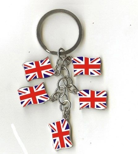 UNITED KINGDOM 5 COUNTRY FLAG METAL KEYCHAIN .. NEW AND IN A PACKAGE
