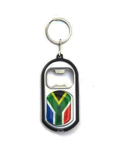 SOUTH AFRICA COUNTRY FLAG LED LIGHT & BOTTLE OPENER METAL KEYCHAIN .. NEW AND IN A PACKAGE
