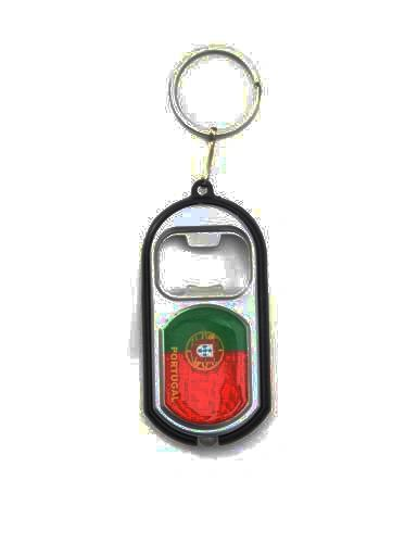 PORTUGAL COUNTRY FLAG LED LIGHT & BOTTLE OPENER METAL KEYCHAIN .. NEW AND IN A PACKAGE