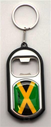 JAMAICA COUNTRY FLAG LED LIGHT & BOTTLE OPENER METAL KEYCHAIN .. NEW AND IN A PACKAGE