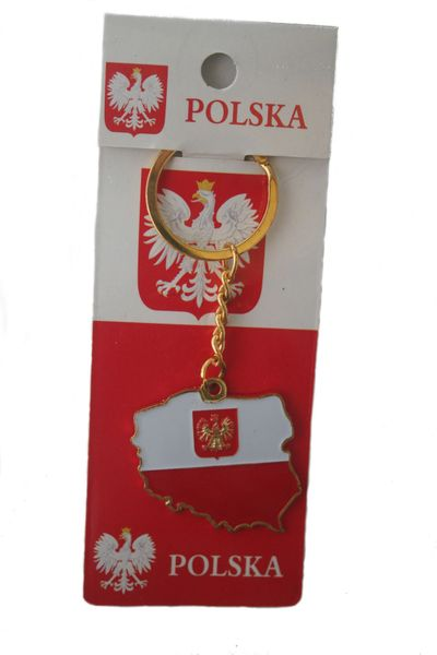 POLAND WITH EAGLE COUNTRY SHAPE FLAG METAL KEYCHAIN .. NEW AND IN A PACKAGE