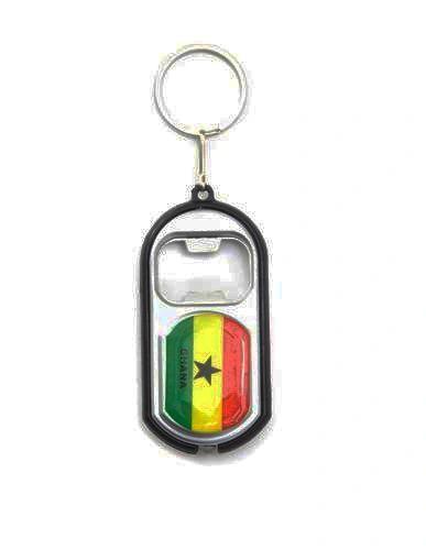 GHANA COUNTRY FLAG LED LIGHT & BOTTLE OPENER METAL KEYCHAIN .. NEW AND IN A PACKAGE