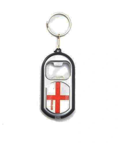 ENGLAND COUNTRY FLAG LED LIGHT & BOTTLE OPENER METAL KEYCHAIN .. NEW AND IN A PACKAGE