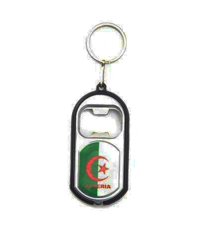 ALGERIA COUNTRY FLAG LED LIGHT & BOTTLE OPENER METAL KEYCHAIN .. NEW AND IN A PACKAGE