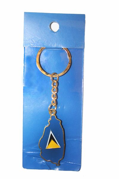 ST. LUCIA COUNTRY SHAPE FLAG METAL KEYCHAIN .. NEW AND IN A PACKAGE