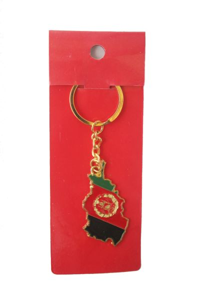 AFGHANISTAN COUNTRY SHAPE FLAG METAL KEYCHAIN .. NEW AND IN A PACKAGE