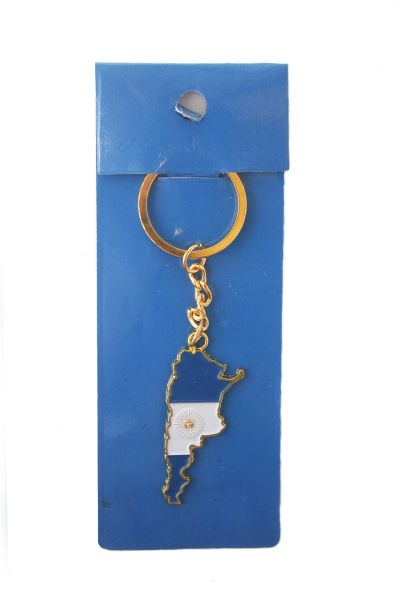 ARGENTINA COUNTRY SHAPE FLAG METAL KEYCHAIN .. NEW AND IN A PACKAGE