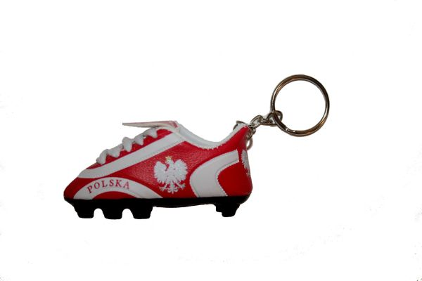 POLSKA POLAND COUNTRY FLAG SHOE CLEAT KEYCHAIN .. NEW AND IN A PACKAGE