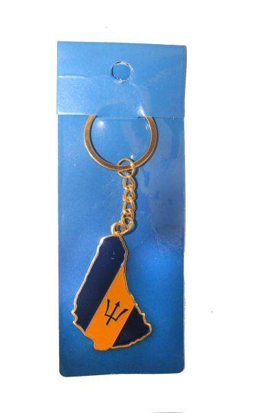 BARBADOS COUNTRY SHAPE FLAG METAL KEYCHAIN .. NEW AND IN A PACKAGE