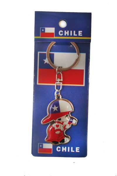 CHILE LITTLE BOY COUNTRY FLAG METAL KEYCHAIN .. NEW AND IN A PACKAGE