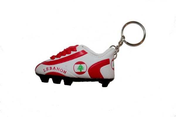 LEBANON COUNTRY FLAG SHOE CLEAT KEYCHAIN .. NEW AND IN A PACKAGE