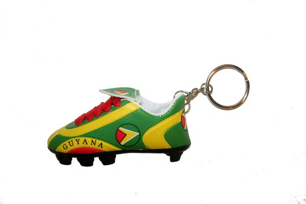 GUYANA COUNTRY FLAG SHOE CLEAT KEYCHAIN .. NEW AND IN A PACKAGE