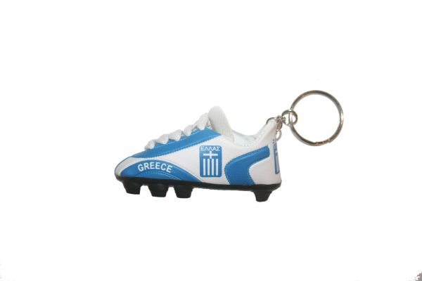 GREECE HELLAS COUNTRY FLAG SHOE CLEAT KEYCHAIN .. NEW AND IN A PACKAGE