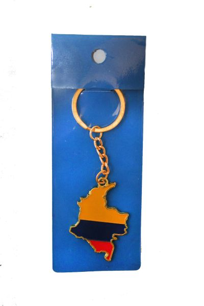 COLOMBIA COUNTRY SHAPE FLAG METAL KEYCHAIN .. NEW AND IN A PACKAGE