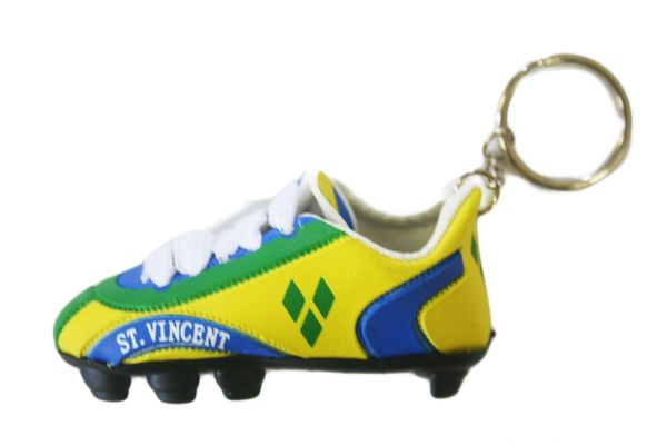 ST. VINCENT COUNTRY FLAG SHOE CLEAT KEYCHAIN .. NEW AND IN A PACKAGE