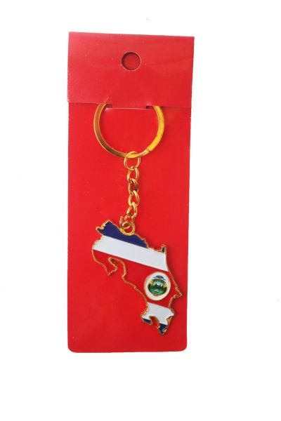 COSTA RICA COUNTRY SHAPE FLAG METAL KEYCHAIN .. NEW AND IN A PACKAGE