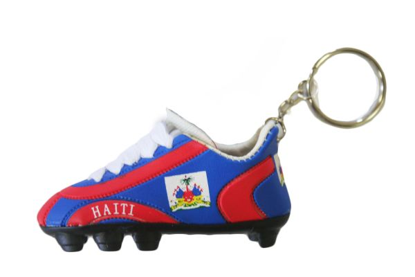 HAITI COUNTRY FLAG SHOE CLEAT KEYCHAIN .. NEW AND IN A PACKAGE