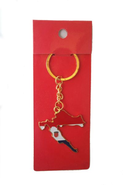 CROATIA COUNTRY SHAPE FLAG METAL KEYCHAIN .. NEW AND IN A PACKAGE