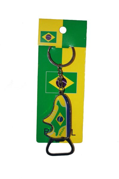BRASIL COUNTRY FLAG BOTTLE OPENER METAL KEYCHAIN .. NEW AND IN A PACKAGE