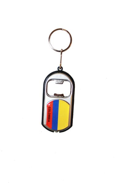 COLOMBIA COUNTRY FLAG LED LIGHT & BOTTLE OPENER METAL KEYCHAIN .. NEW AND IN A PACKAGE