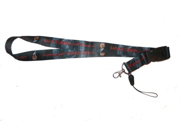 "BARACK OBAMA BLACK BACKROUND LANYARD KEYCHAIN PASSHOLDER NECKSTRAP .. CLASP AT THE END .. 20"" INCHES LONG .. HIGH QUALITY .. NEW"