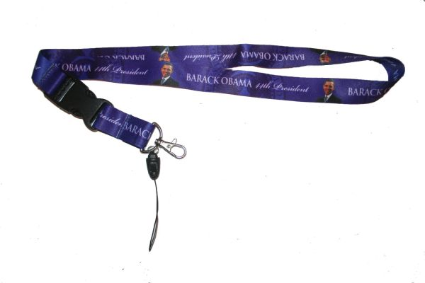 "BARACK OBAMA BLUE BACKGROUND LANYARD KEYCHAIN PASSHOLDER NECKSTRAP .. CLASP AT THE END .. 20"" INCHES LONG .. HIGH QUALITY .. NEW"