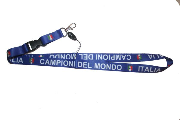 "CAMPIONI DEL MONDO ITALIA FIGC LOGO FIFA SOCCER WORLD CUP LANYARD KEYCHAIN PASSHOLDER NECKSTRAP .. CLASP AT THE END .. 20"" INCHES LONG .. HIGH QUALITY .. NEW"